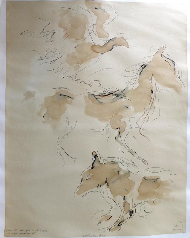 Zilveti - Caballo, pájaro y lobo - técnica mixta - 65x50-cm. - París 2014