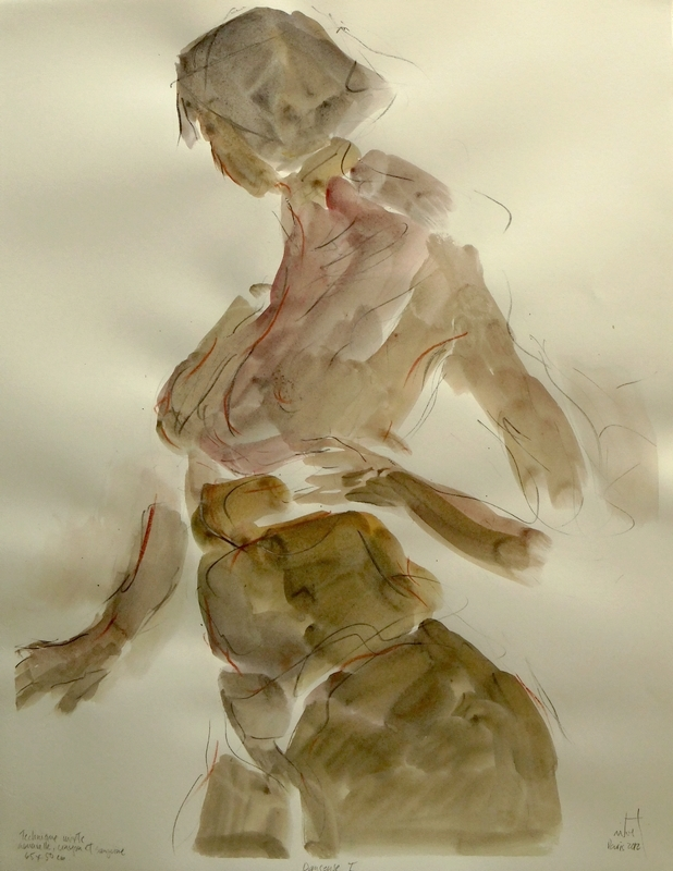 Zilveti - Danseuse I - dessin aquarelle crayon et sanguine sur papier - 65x50 cm. - Paris 2012