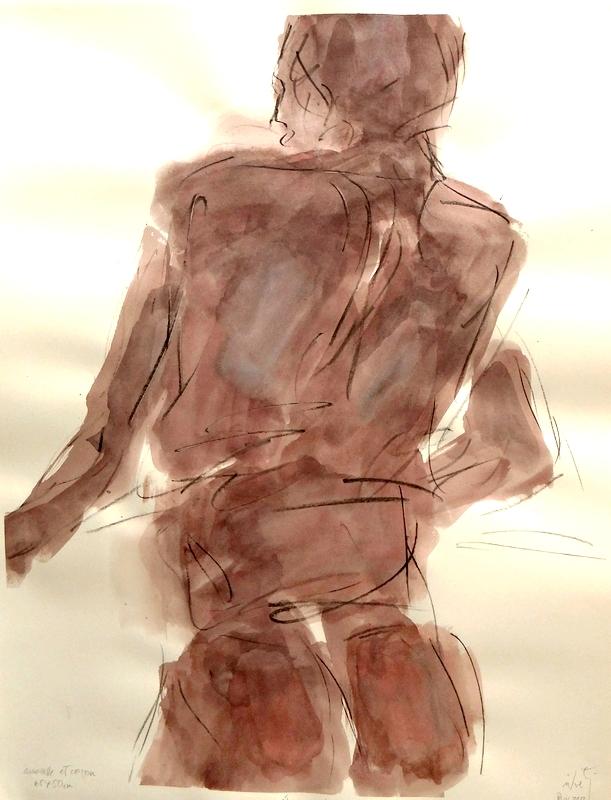 Zilveti - L'homme au balcon - dessin aquarelle et crayon sur papier - 65x50cm - Paris 2012