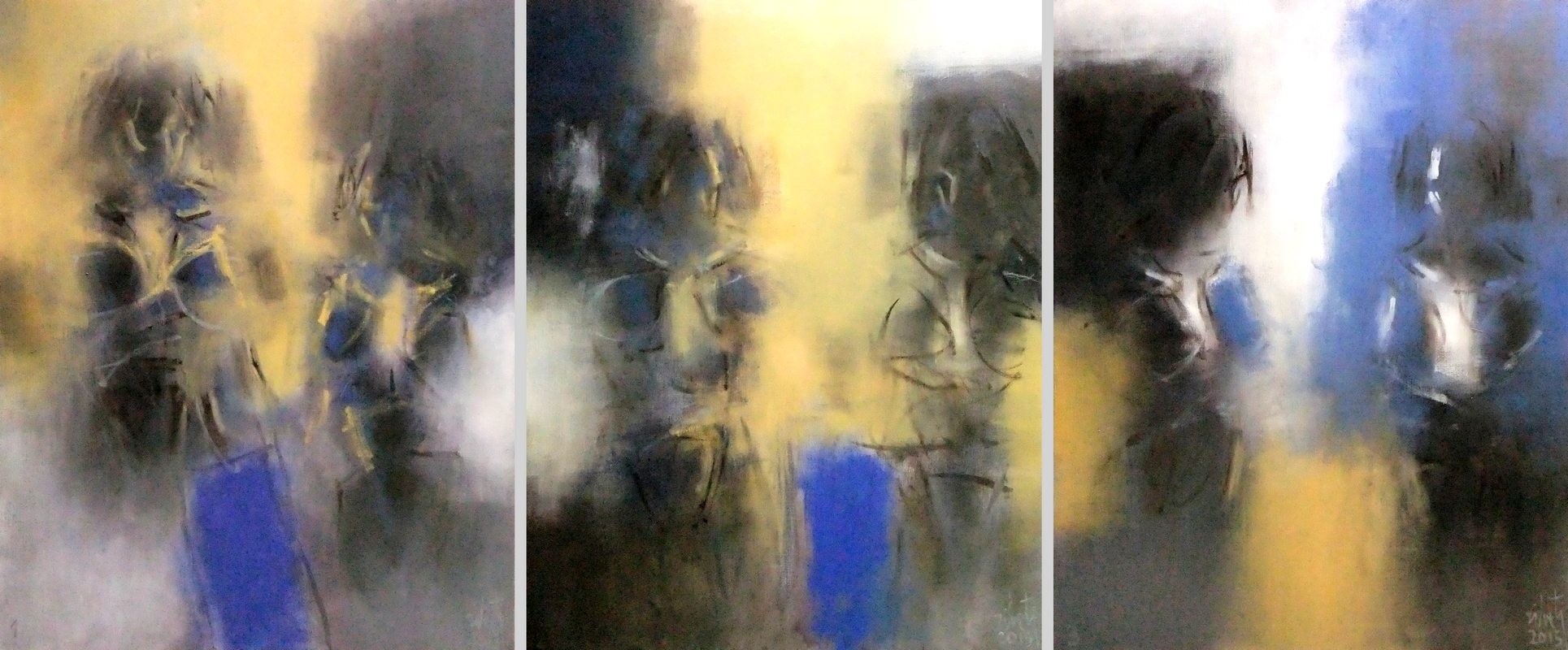 Zilveti - Hier, aujourd'hui et demain II (triptyque A-B-C) - Huile sur toile - 92x223 cm - Paris 2015