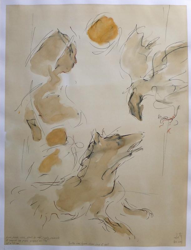 Zilveti - Femme, oiseau, loup et soleil-dessin 65x50 cm.-Paris 2014