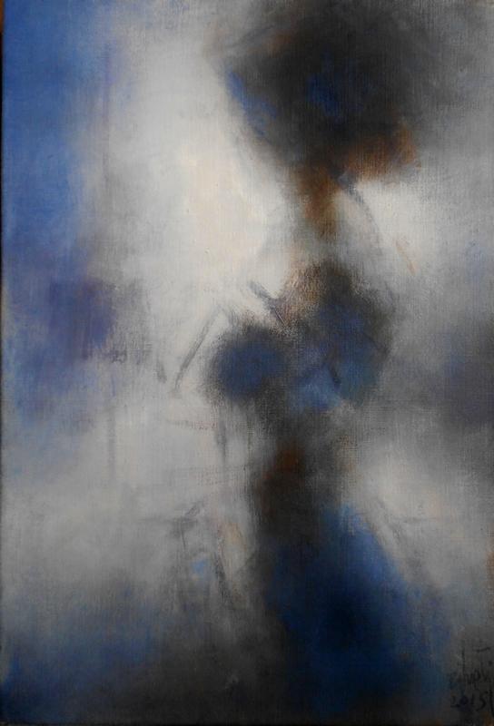 Zilveti - Figure de profil - Huile sur toile - 60x41 cm.-Paris 2015
