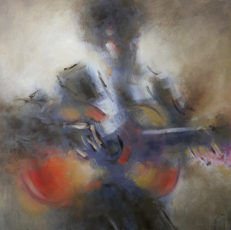 Zilveti - Guitarra - Huile sur toile - 60x60 cm.-Paris 2016
