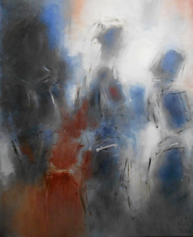 Zilveti - La rue I - Huile sur toile - 100x81 cm.-Paris 2016