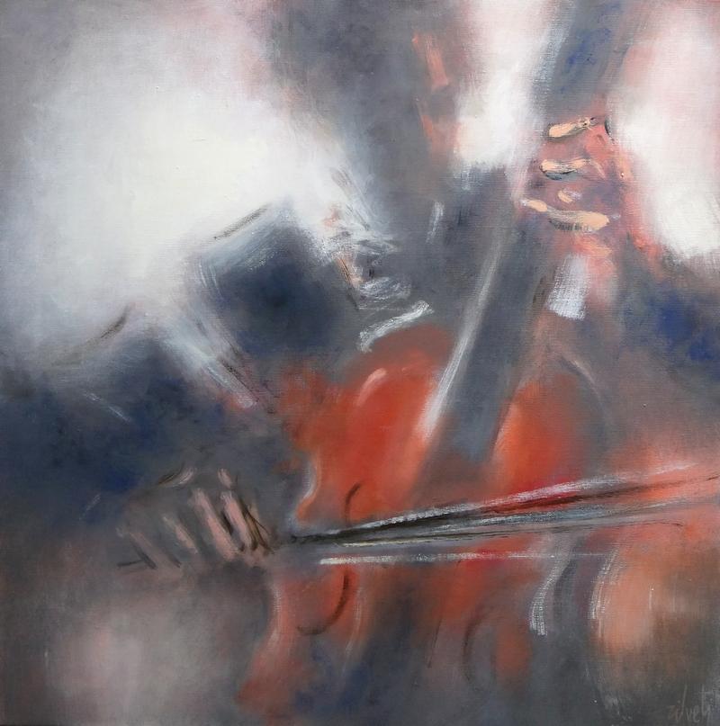 Zilveti - Violoncello - Huile sur toile - 60x60 cm.-Paris 2016