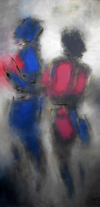 Luis Zilveti - Deux figures de dos II - h.s.t. - 120x60cm. París 2016